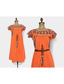 Vintage 60s Mexican Dress / 1960s Boho Orange Cotton Embroidered Hippie Dress by Etsy