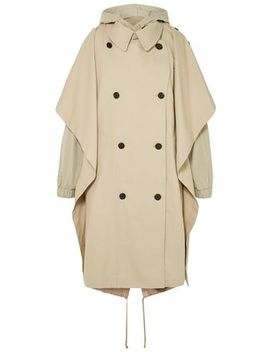 Oversized Hooded Layered Cotton Blend Gabardine Trench Coat by Pushbutton
