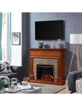 Harper Blvd Hennintol Faux Stone Electric Fireplace, Glazed Pine And Multicolored River Stone by Harper Blvd