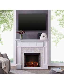 Harper Blvd Johnesborough Faux Stone Media Electric Fireplace, White With Rustic White by Harper Blvd