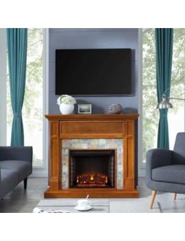 Harper Blvd Harvill Faux Stone Media Electric Fireplace, Dark Sienna With Multicolored Slate by Harper Blvd