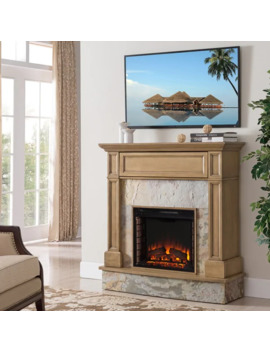 Harper Blvd Holte Stone Media Electric Fireplace, Weathered Gray Oak And Rustic Marble by Harper Blvd