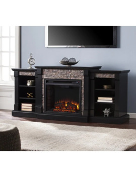 Copper Grove Hay River Black Faux Stone Electric Fireplace With Bookcases   N/A by Copper Grove