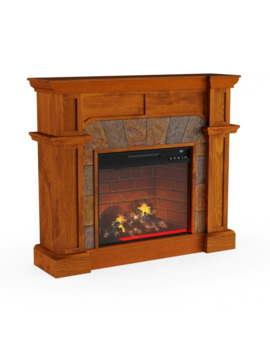 Copper Grove Amistad Mission Oak Faux Stone Corner Infrared Fireplace by Copper Grove