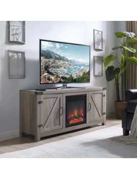 "The Gray Barn Firebranch 58"" Barn Door Fireplace Tv Console   58 X 16 X 25h by The Gray Barn"