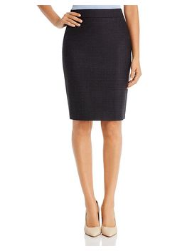 Virusa Crosshatch Wool Pencil Skirt by Boss