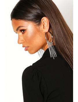 Diamante And Chain Hoop Earrings by Boohoo