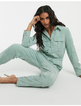 Missguided Cord Utility Jumpsuit In Mint by Missguided