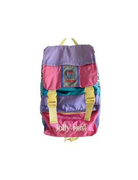 Vintage Backpack Invicta Jolly Pro 4 Colorful Backpack With Big Buckles And Solid Back Satchel Knapsack Haversack Rainbow Bag Italy by Etsy