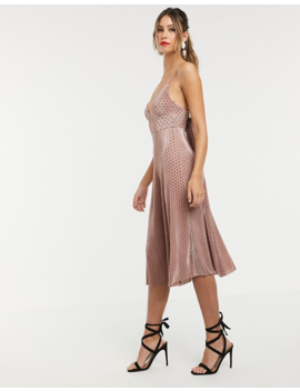 Asos Design Spot Plisse Cupped Strappy Midi Dress With Bow Back by Asos Design