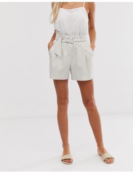 Vero Moda Stripe Paperbag Belted Linen Short by Vero Moda