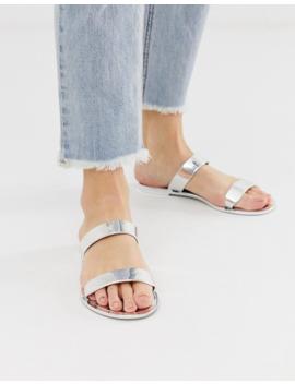 Glamorous Silver Mirror Two Strap Flat Sandal by Glamorous