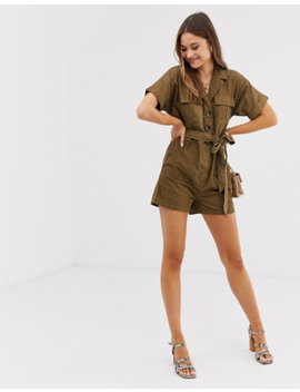 River Island Utility Romper With Belt In Khaki by River Island