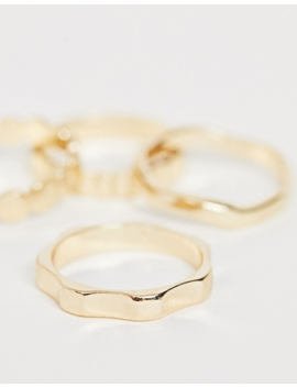 Asos Design Pack Of 4 Rings In Mixed Texture Designs In Gold Tone by Asos Design