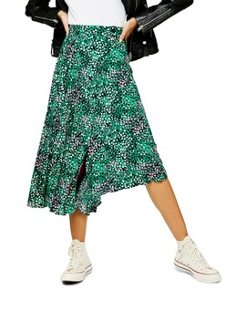 Painted Spot Pleat Midi Skirt by Topshop