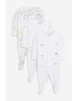 White 3 Pack Gots Organic Cotton Watercolour Embroidered Animal Sleepsuits (0mths 2yrs) by Next