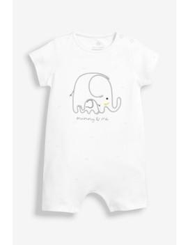White Mummy & Me Elephant Romper (0mths 2yrs) by Next