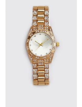 Diamante Bracelet Strap Watch by Boohoo