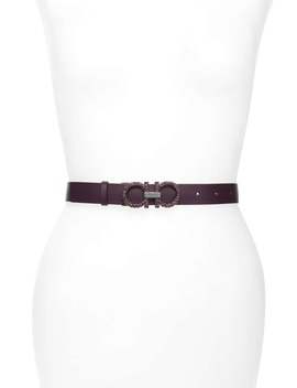 Double Gancio Crystal Buckle Leather Belt by Salvatore Ferragamo