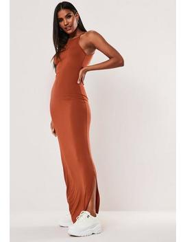 Tall Orange High Neck Basic Maxi Dress by Missguided