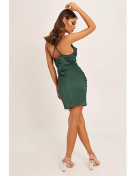 Emerald Green Cowl Neck Ruched Satin Mini Dress by I Saw It First
