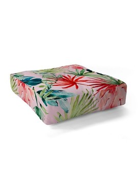 Marta Barragan Camarasa Colorful Tropical Paradise Square Floor Pillow Pink   Deny Designs by Deny Designs