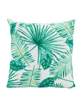 "Saro Lifestyle 18""X18"" Swaying Palms Poly Filled Throw Pillow Green by Saro Lifestyle"