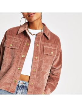Pink Cord Cropped Shacket by River Island