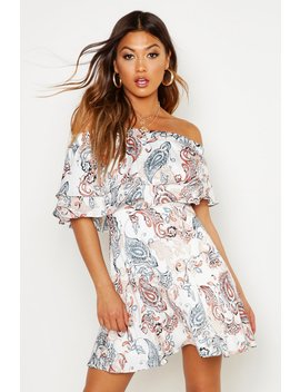 Off The Shoulder Double Frill Skater Dress by Boohoo
