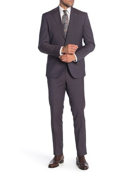 Roger Burgundy Two Button Notch Lapel Wool Suit by Ted Baker London