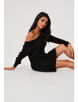 Tall Black Off Shoulder Knitted Jumper Dress by Missguided