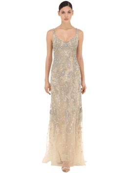 Embellished Stretch Tulle Long Dress by Roberto Cavalli