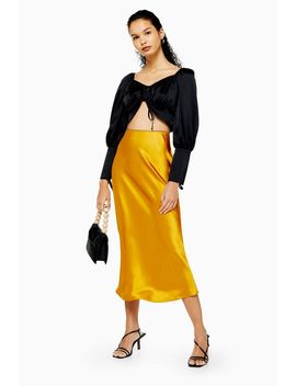 Ochre Satin Bias Midi Skirt by Topshop