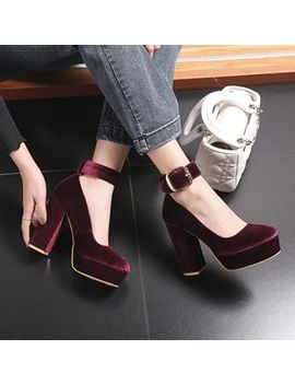 Jy Shoes   Chunky Heel Platform Velvet Pumps by Jy Shoes