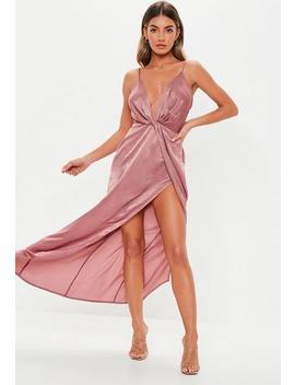 Tall Blush Satin Twist Cami Maxi Dress by Missguided