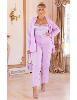 Plus Lilac Pleat Detail Wide Leg Pants by Prettylittlething