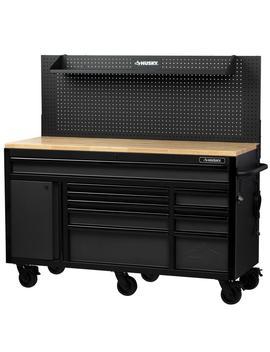 Heavy Duty 61 In. W X 23 In. D 10 Drawer 1 Door Tool Chest Mobile Workbench With  Flip Up Pegboard In Matte Black by Husky