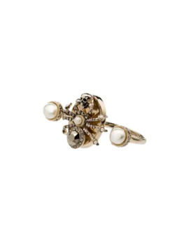 Spider Pearl Detail Double Ring by Alexander Mc Queen