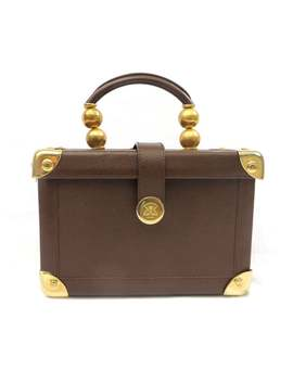 Vintage 1990's Brown Leather Trunk Box Purse Handbag Gold Hardware Top Handle, Gabbrielli Firenze, Made In Itali by Etsy