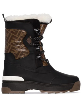 Ff Panel Shearling Snow Boots by Fendi