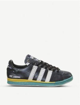 Raf X Stan Smith Distressed Leather Trainers by Adidas X Raf Simons