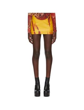 Ssense Exclusive Yellow Leather Kumbi Miniskirt by Mowalola