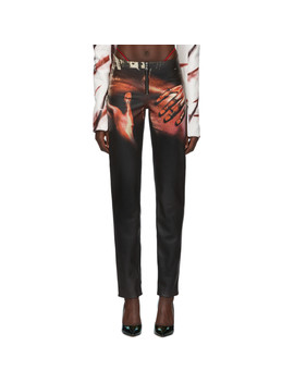 Ssense Exclusive Black Leather Touch Trousers by Mowalola