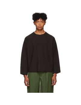 Brown Rustic Three Quarter Sleeve T Shirt by Homme PlissÉ Issey Miyake
