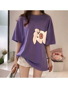 Superduper   Elbow Sleeve Pig Print T Shirt by Superduper