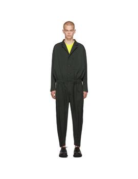 Green Wool Wrinkle Jumpsuit by Issey Miyake Men