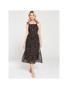 Lemon Mesh Midi Dress   Black by V By Very