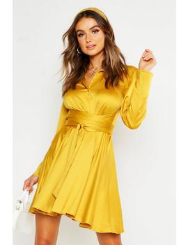 Wrap Around Detail Shirt Dress by Boohoo
