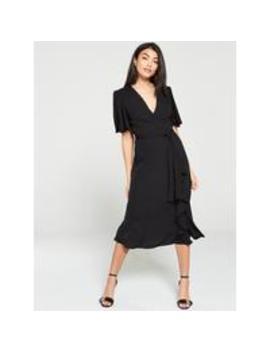 Vienna Wrap Frill Midi Dress   Black by V By Very