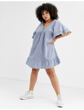 Asos Design Curve V Front V Back Smock Mini Dress In Chambray by Asos Design